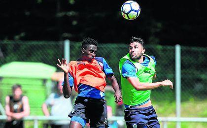 Vicente Iborra, entrenando con el Leicester durante la pretemporada.