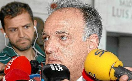 Javier Tebas, en el sorteo del calendario de la Liga en Las Rozas.