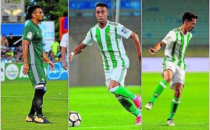 Nacho, Rafa Navarro e Iván Navarro, tres exgereneros que han jugado con el Betis este verano.