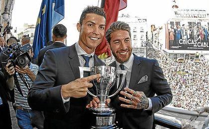 Ronaldo, en la celebración de la conquista de la Liga.