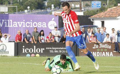 3-2: El Sporting, con mucho gol, sorprende al Eibar en Villaviciosa