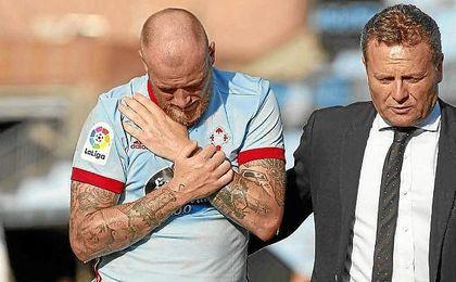 Guidetti se marchó lesionado en el encuentro ante la Roma.