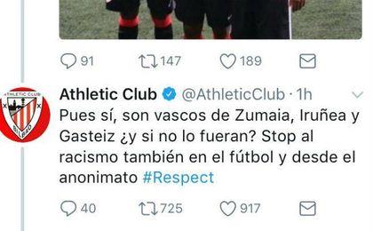 El tuit del Athletic contra el racismo