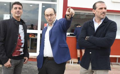 Castro, Arias y Javi Guerrero, en el entrenamiento de hoy