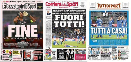 """Buffon y la palabra """"fin"""" llenan las portadas italianas tras fracaso Mundial."""