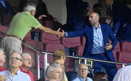 Monchi, en su visita al Sánchez-Pizjuán en el Trofeo Antonio Puerta con la Roma.
