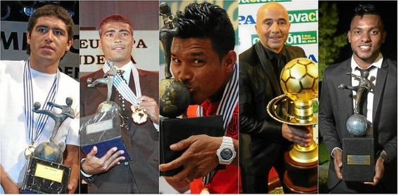 Riquelme, Romario, Teófilo Gutiérrez, Sampaoli y Miguel Borja, premiados en diferentes ediciones.