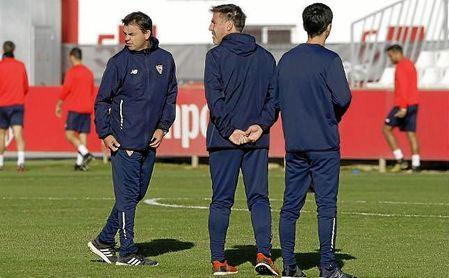Marcucci, junto a Berizzo, que podría volver a los entrenamientos la próxima semana.