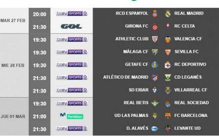 Horarios de la jornada 26: Málaga-Sevilla, el miércoles y Betis-Real Sociedad, el jueves