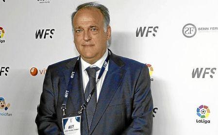 Javier Tebas, durante el Congreso Internacional de Fútbol 2017.
