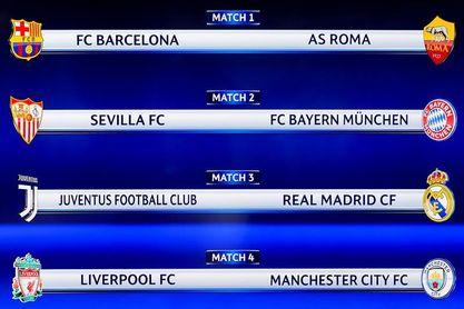 Barça-Roma, Sevilla-Bayern y Juventus-Real Madrid en cuartos