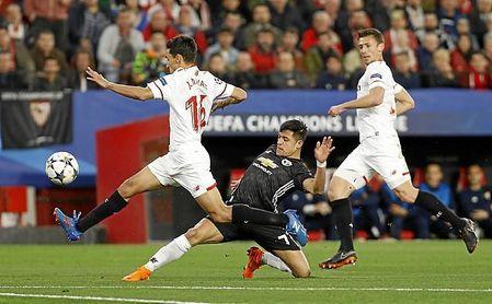 Imagen del Sevilla-Manchester de Liga de Campeones.