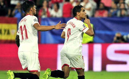 Ben Yedder celebra un gol con el Sevilla.