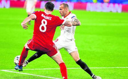 Sandro Ramírez salió con muchas ganas al campo en la cita contra el Bayern de Múnich.