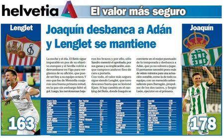 Joaquín desbanca a Adán y Lenglet se mantiene