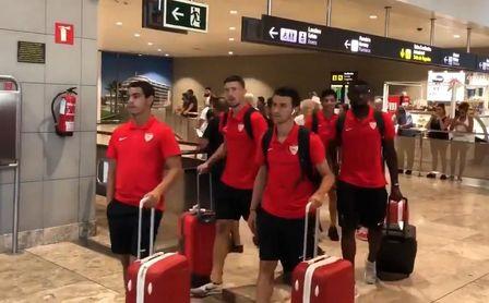Llegada del Sevilla a Benidorm.