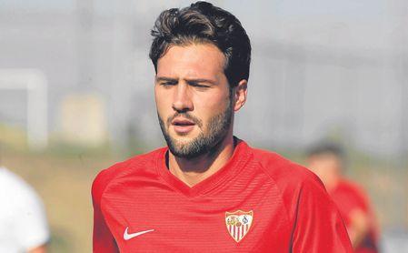 Franco Vázquez durante un entrenamiento de pretemporada con el Sevilla FC.