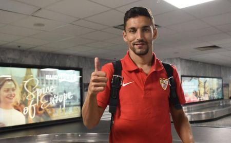 Jesús Navas, jugador del Sevilla FC, antes del partido que les enfrentará al Ujpest.