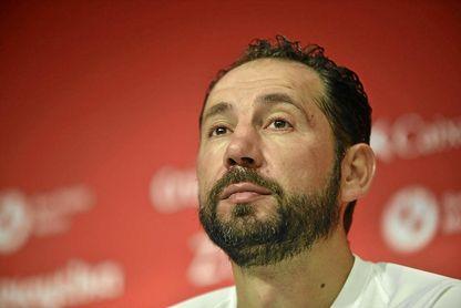 Pablo Machín, en la rueda de prensa de hoy.