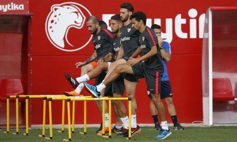Aleix, Navas y Sergi Gómez en un entrenamiento