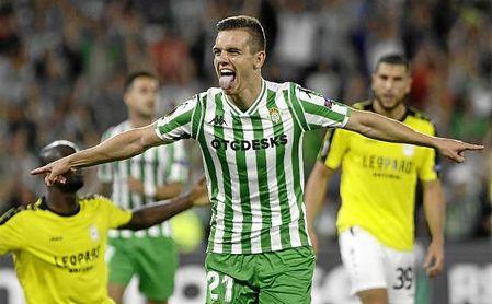 Giovani Lo Celso celebra su primer gol con el Betis.