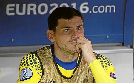 Casillas en un partido de la Eurocopa de 2016.