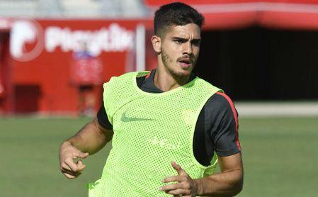 André Silva, en un entrenamiento con el Sevilla.
