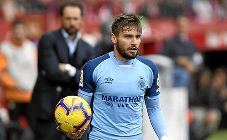 Machín, tras su deseado Portu, observa atento el partido entre Sevilla y Girona.