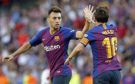 Partido de Liga entre el Barcelona y el Athletic en el Camp Nou. En la imagen, Munir celebra su gol.