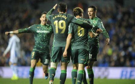 Partido de vuelta de octavos de la Copa del Rey. En la imagen, Canales celebra un tanto.