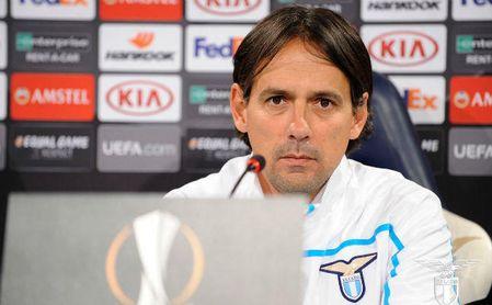 Simone Inzaghi en la rueda de prensa para el partido Lazio-Sevilla.
