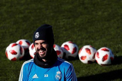 Isco completa parte del entrenamiento previo al Levante-Madrid de Liga