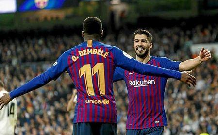 Dembelé y Luis Suárez en el partido de vuelta de las semifinales de la Copa del Rey entre el Real Madrid y el Barcelona.