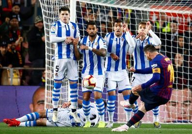 1-0. Lenglet da ventaja al Barcelona al filo del descanso