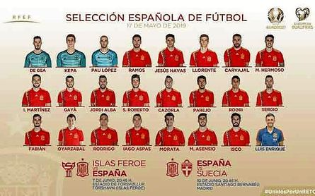 La lista de los convocados para los partidos de clasficación de la Euro 2020 contra Islas Feroe y Suecia