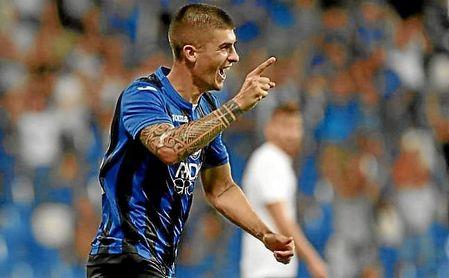 Mancini celebra un gol con el Atalanta esta temporada.