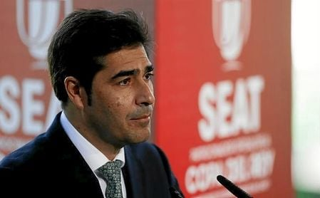Ángel Haro, presidente del Betis, en un acto de la Copa del Rey en el Villamarín.