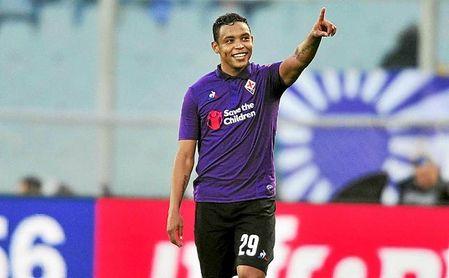 Muriel celebra un gol con la Fiorentina.