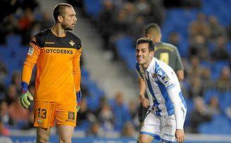 Juanmi celebra su gol al Betis esta temporada.
