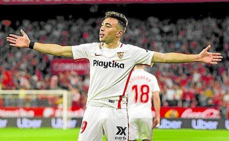 Munir celebra el gol que marcó en el derbi, uno de los cinco que anotó en Liga y de los siete que firmó en total desde que llegó a Nervión.