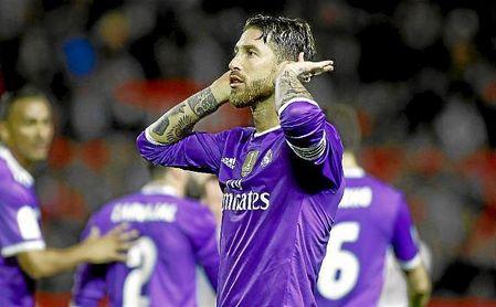 Sergio Ramos celebró así su gol al Sevilla en dicho partido.