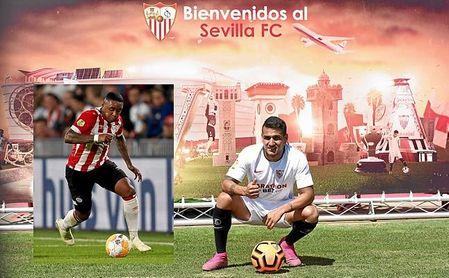Rony Lopes, ya presentado como jugador del Sevilla FC, y Steven Bergwijn, a quien no logró sacar del PSV.