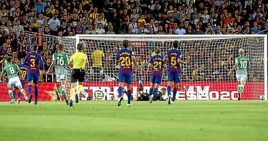 Fekir marca el 0-1 del Betis en el Camp Nou.