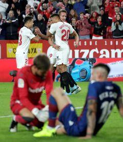 1-0. El primer gol de De Jong sitúa sexto al Sevilla ante un rival poco ofensivo