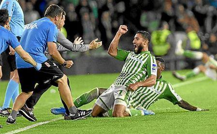 Fekir celebra el tanto logrado ante el Celta y que supuso un cambio en la inercia del Betis.