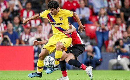 Aleñá, durante un partido de Liga contra el Athletic Club.
