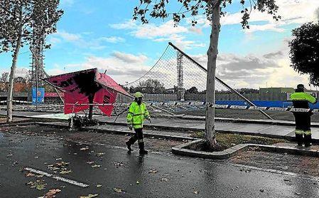 El Nuevo Estadio Ciudad de Alcalá sufrió ayer la tormenta Daniel.