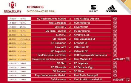 Horarios para el Sevilla-Levante y el Rayo-Betis de Copa del Rey