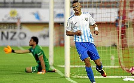 En-Nesyri tras marcar uno de sus primeros goles con en el Málaga.