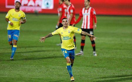El canterano bético Robert anota su segundo gol con Las Palmas.